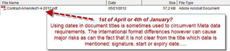 1st of April or 4th of January? Using dates in document titles is sometimes used to circumvent Meta data requirements. The international format differences however can cause major risks as can the fact that it is not clear from the title which date is mentioned: signature, start or expiry date.....